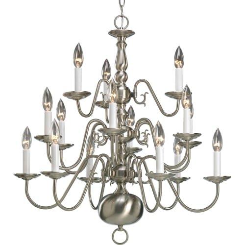 Collection 15 Light Chandelier (Progress Lighting P4359-09 15-Light Three-Tier Americana Chandelier, Brushed Nickel)
