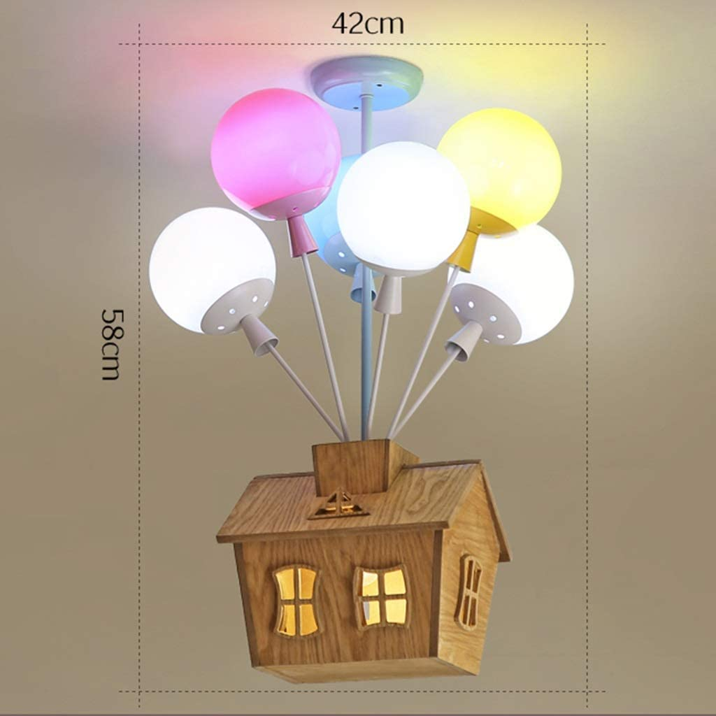 UOPMT-a Cartoon Kids Ceiling Lamp Balloon Wooden Flying House 8 Bright Childrens Lamp 1116-xdd Color : White light, Size : 6 heads