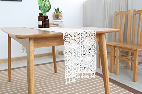 Hense Modern Elegant Cotton Macrame Table Runner with Tassels, Off-White Lace Crochet Placemat for Themed Party Birthday Bridal Wedding Home Kitchen Dining Room Decor(HZQ-06-US) (9.5