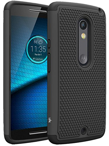 Droid Maxx 2 Case, LK [Shock Absorption] Drop Protection Hybrid Dual Layer Armor Defender Protective Case Cover for Motorola Droid Maxx 2 (Black) - Cell Phone Case For Motorola Maxx