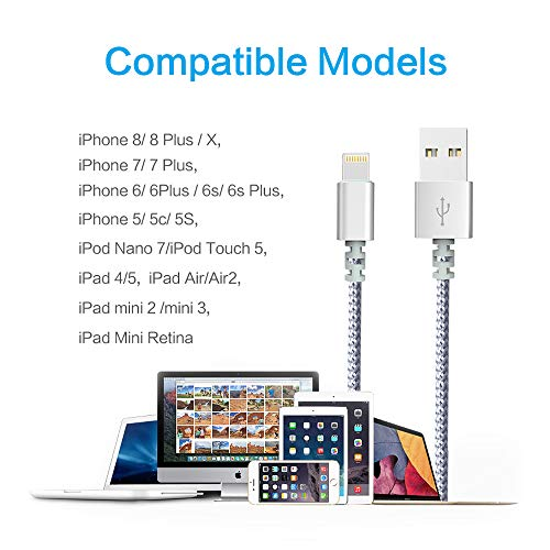 Chargers, Moallia 3-Pack 6-Feet Extra Long Charging Cable Durable Fast Charging Data Sync Cord Compatible with iPhone X, iPhone 8, iPhone 7, iPhone 6, iPhone 5, iPad Mini & More(White) by Moallia (Image #6)