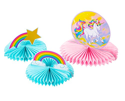 Blue Panda 3-Piece Rainbow Unicorn Honeycomb Centerpiece Decoration for Kids Birthday Party Supplies, Pink and Blue]()