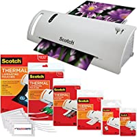 Scotch Thermal Laminator Combo Pack Holds Sheets Up To 8.5 x 11(TL902A) 110 Piece Assorted Pouch Sizes & Scotch Brand Luggage Tags