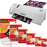 Scotch Thermal Laminator Combo Pack Holds Sheets Up To 8.5'' x 11(TL902A) 110 Piece Assorted Pouch Sizes & Scotch Brand Luggage Tags