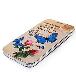 Electro-Weideworld Tapa Batería Flip Funda de Cuero para Samsung Galaxy Note 2 N7100 Reemplazar original Azul mariposa