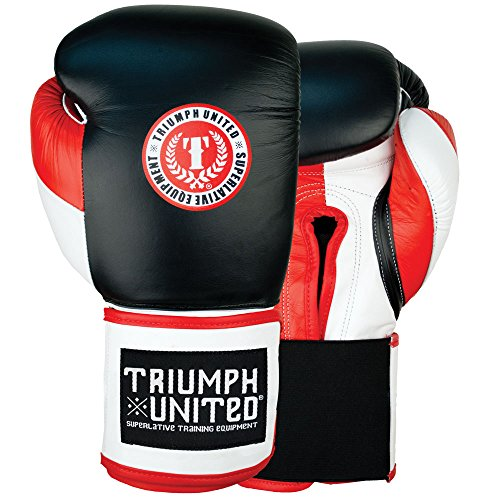 Triumph United Death Adder Velcro Sparring Gloves (Black/Red, 16 oz)