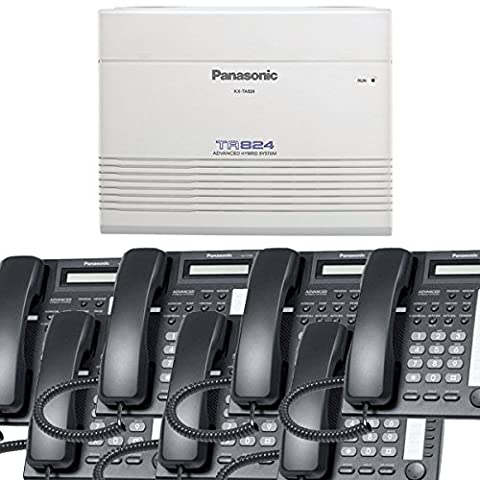 Panasonic Small Office Business Phone System Bundle Brand New includiing KX-T7730 7 Phones Black and KX-TA824 PBX Advanced Phone - 624 Systems