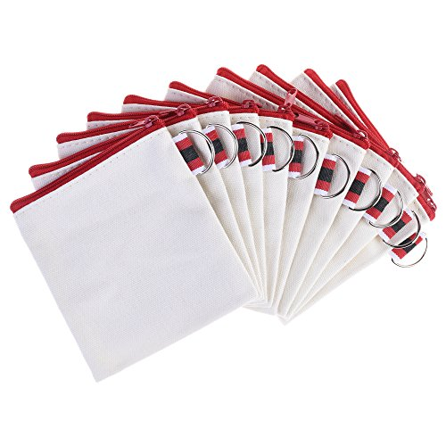 BCP 10pcs White Color Canvas Small Zipper Blank Coin Purses Pouches, DIY Craft Bags (Red Zipper)