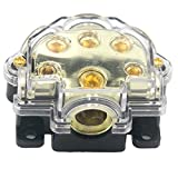 ZOOKOTO Car Vehicle Audio 5 Way Out Power Ground Distributor Block Fuse Holder (Five Way)