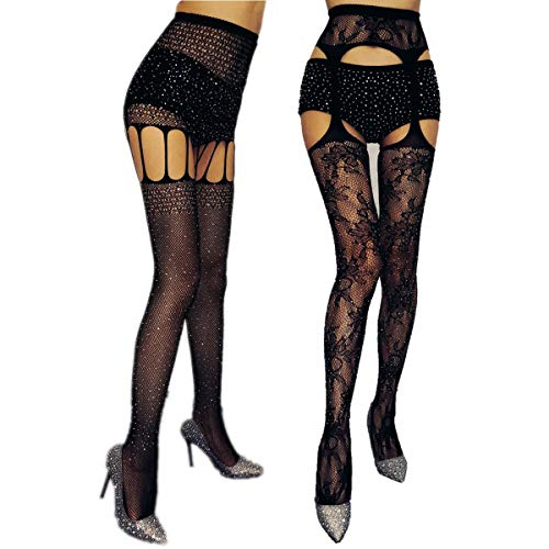 Rhinestone Fishnet Tights Suspender Legging Pantyhose Thigh High Stockings for Women (Black-Rhinestone 2Pcs) J23032352 ()