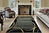 Maxy Home Contemporary Arches 7'10'' x 10'6'' Ocean Blue Black Area Rug French Border Pasha Collection PAS4656