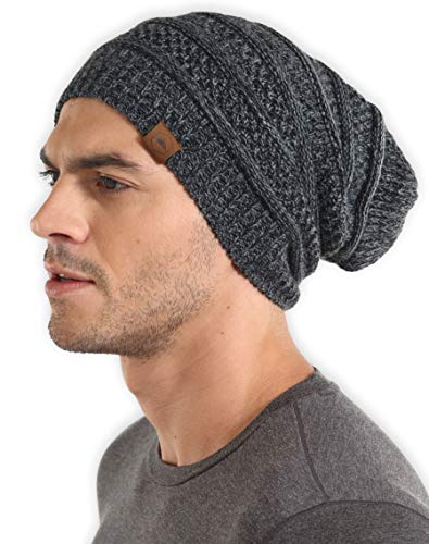 Slouchy Knit - Slouchy Cable Knit Beanie - Chunky, Oversized Slouch Beanie Hats for Men & Women - Stay Warm & Stylish - Serious Beanies for Serious Style (Black Gray)