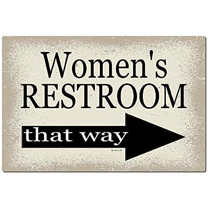 bathroom sign with arrow right arrow dyenamic art womens bathroom sign arrow to the right 12x8 metal home decor amazoncom