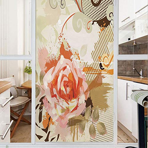 Decorative Window Film,No Glue Frosted Privacy Film,Stained Glass Door Film,Abstract Artistic Composition with Big Grunge Rose and Floral Retro Motifs Decorative,for Home & Office,23.6In. by 47.2In Kh