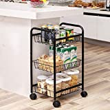 SONGMICS 3-Tire Metal Rolling Cart On Wheels with