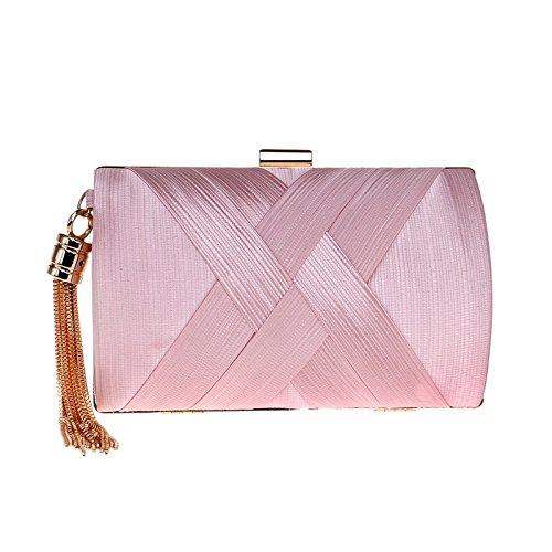 Delicate Clutch Shoulder Wedding Women Bridesmaid Bag Bag FZHLY Evening Silk Evening Bridal Fringe Clutch Pink Bag Dress Cross 58dqOP