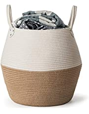 Decorative Coiled Rope Belly Basket, Storage Basket for Home Organization, Woven Basket for Indoor Plants, Toys, Clothes, Blankets