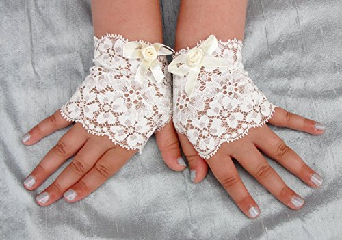 [Toddler Girl Lace Fingerless Gloves Off White Steampunk Wedding Easter] (Holiday Recital Costumes)