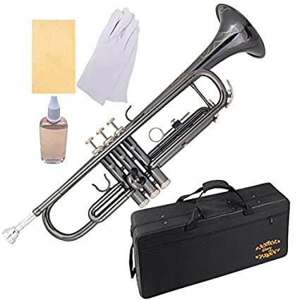 Glory Black Nickel With engraved flowers,Brass Bb Trumpet with Pro Case +Care Kit, More COLORS Available ! CLICK on LISTING to SEE All Colors