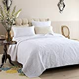 Moldiy White Pulis Embroideried Exquisite Floral Pattern Cotton Quilt Sets,Quilt and Pillow Shams,3 Pcs,King