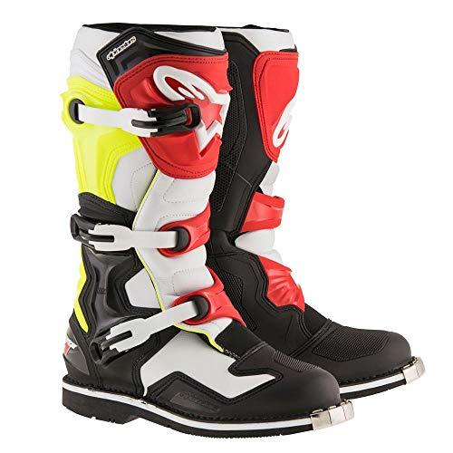 (Alpinestars Mens Tech 1 Boot (Black/White/Yellow/Red, 6))