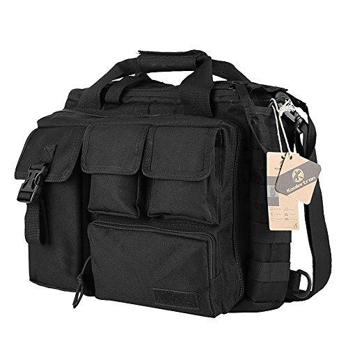 "Koolertron Bolso de Hombre Multifuncional Táctico de Nylon hombro Cartera Grande Suficiente para 15,6"" Portátil/ Sony / Canon / Nikon / Olympus / iPad Khaki (Negro) Negro"