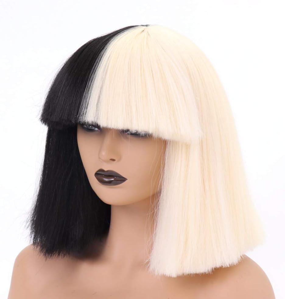 Perruques courtes droites pour filles et femmes 35,6 cm cheveux synth/étiques pour costume perruque Halloween cosplay soir/ée