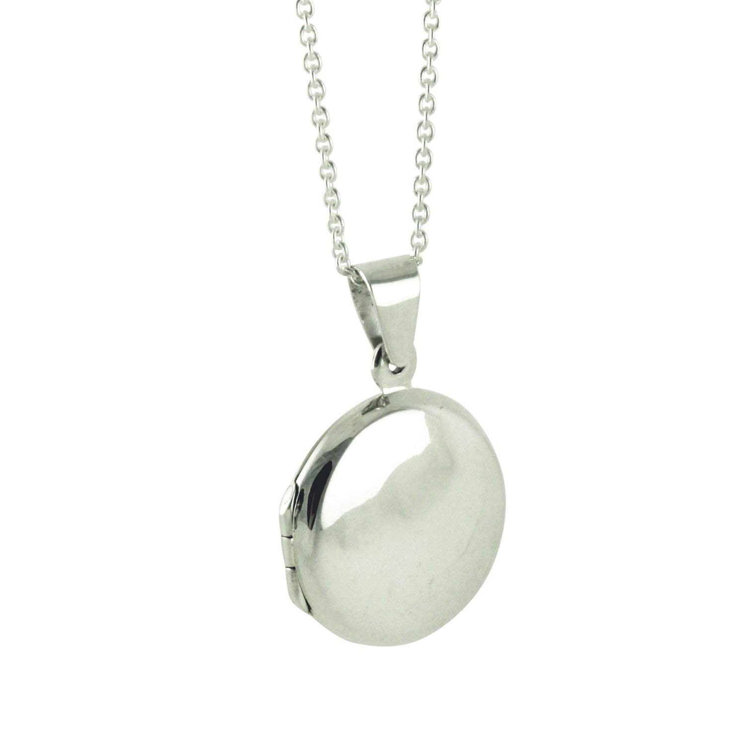 apop nyc Sterling Silver Round Plain Locket Pendant Necklace 16 inch 30 inch