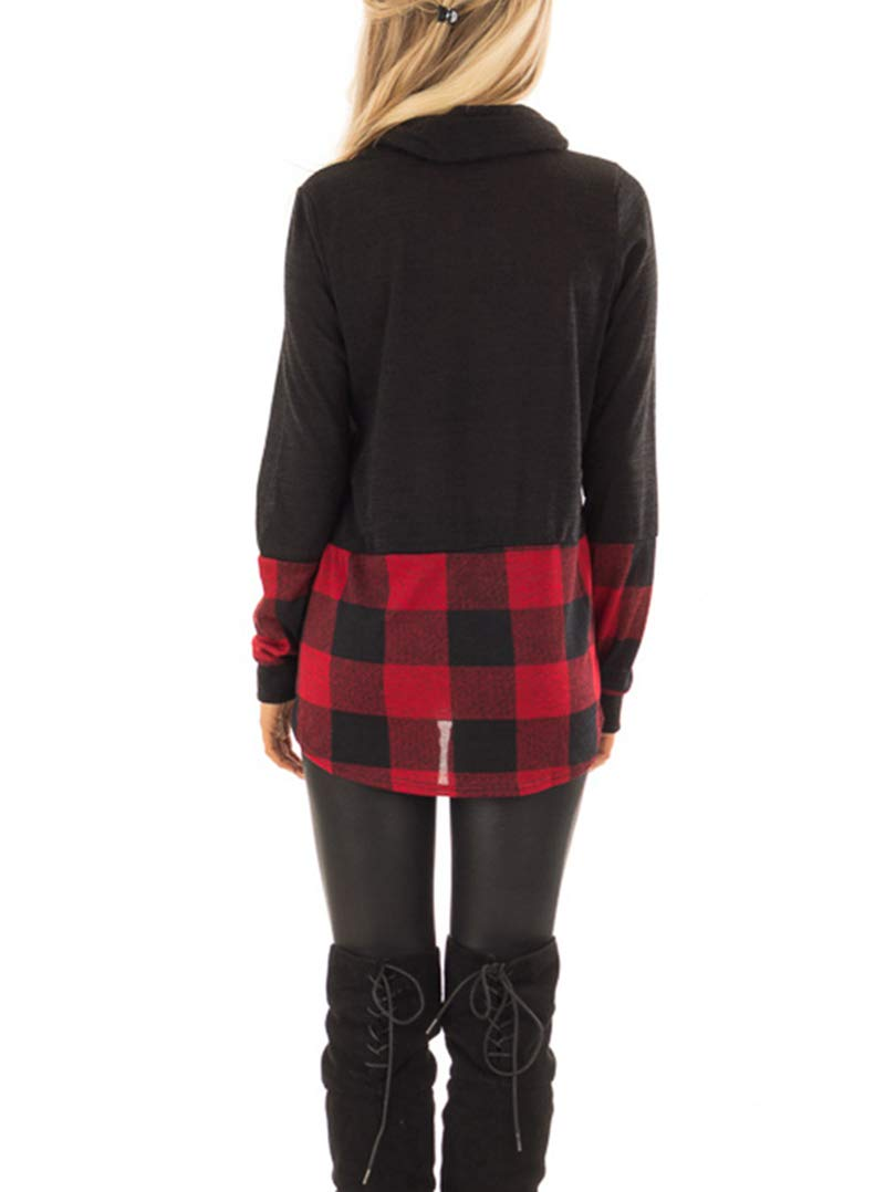 AMCLOS Womens Long Sleeve Cowl Neck Button Tunic Tops Casual Plaid Sweatshirts Pullover (Black, S)