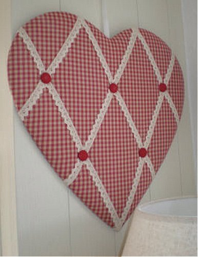 Vintage Red Gingham Padded Fabric Heart Memo Board Pin Notice Magnificent Padded Memo Board