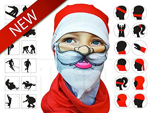Christmas Santa Tubular Half Face Mask Neck Warmer Unisex Costume Headwear Gift Set - Costumes That Need A Beard