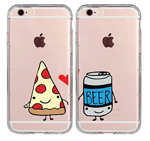 iPhone 7 Plus Case,iPhone 8 Plus Case,Cute Best Friends Things for Girls Boys,Friendship Pizza & Beer Princess & Prince BFF Matching Funny Sisters Funny Soft Clear Case for iPhone 8 Plus-Beer