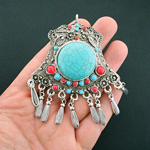 Turquoise Pendant Charm Antique Silver Tone With Faux Turquoise Tassel SC5962