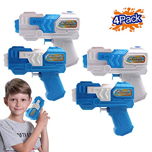 Water Gun Assortment - Onene 4 Pieces Mini Squirt Water Pistol Guns, Pocket Size Water Soaker Gun Toy, Summer Swimming Pool Beach Sand Water Blaster Water Fighting Toys