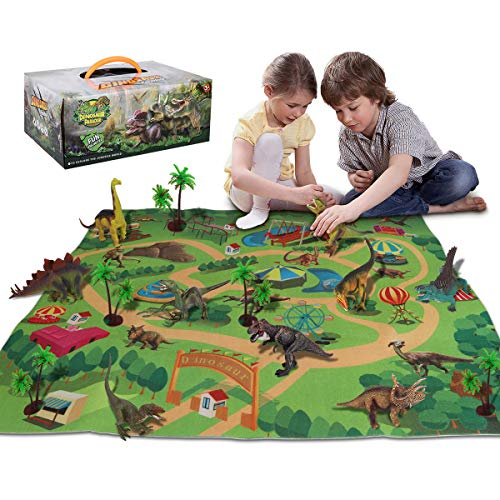 Sciencow Dinosaur Toys Figure w/ Activity Play Mat, Educational Realistic Dinosaur Playset Adventure Mat with Trees for Creat A Dino World Include T-Rex Triceratops, for Kids, Boys & Girl