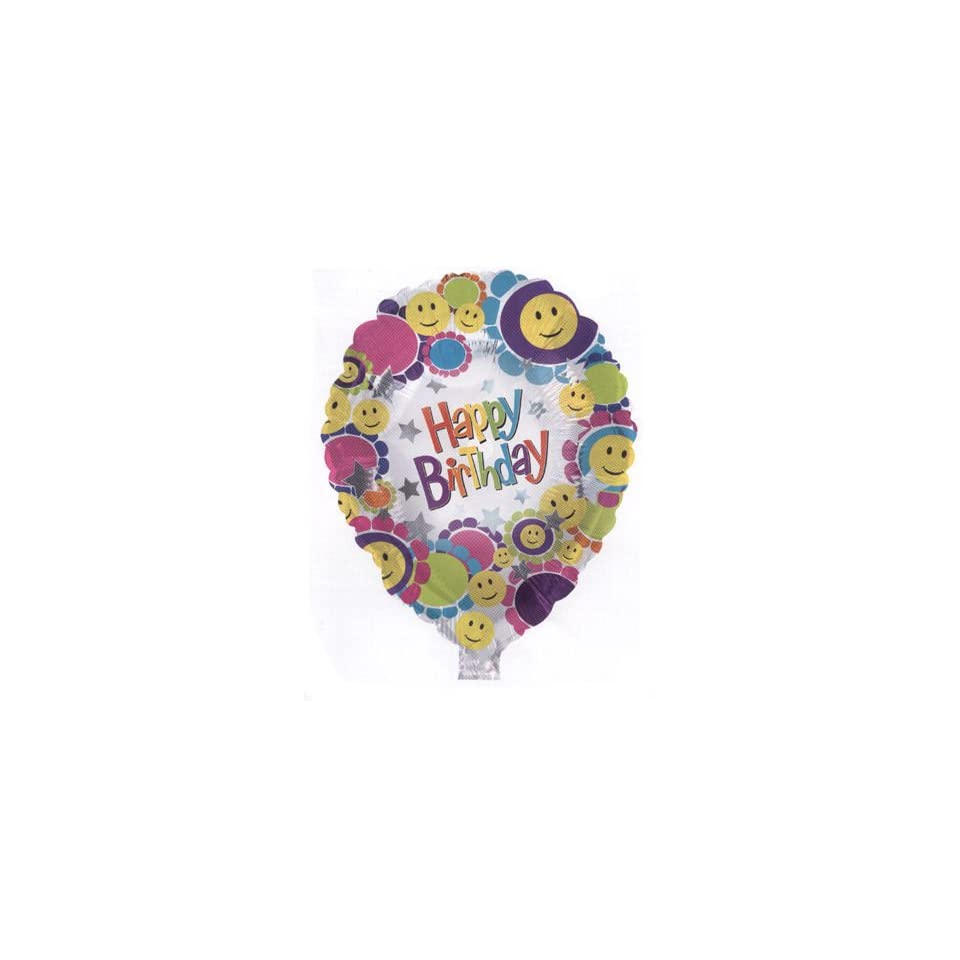 Folienballon Happy Birthday Muffin Figur klein bunt 45 cm Ballongas