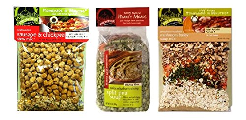 Frontier Soups 100% Natural Soup Mix 3 Flavor Variety Bundle, (1) each: Southwestern Sausage & Chickpea, NE Barn Raising Split Pea, PA Woodlands Mushroom Barley (4-16 Ounces)