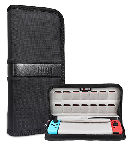 BUBM Nintendo Switch Carry Case Game Console Storage Bag Waterproof Drop Protection Travel Out Going Hand Pouch with Portable Strap 14 Pockets for Game Cards (Black)
