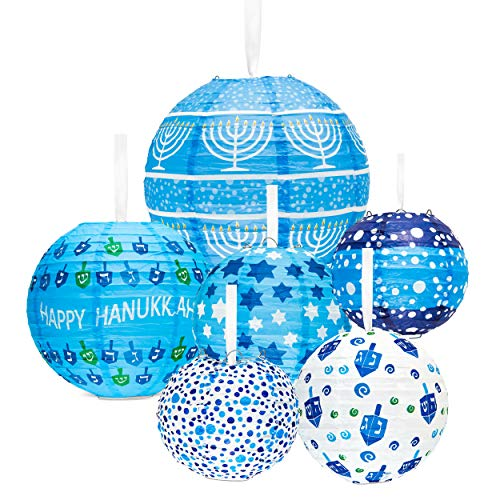 (Aviv Judaica Hanukkah Lantern Ball Ceiling Mount - Hanukkah Decorations 6 Piece Assorted Hanukkah Designs Ball Lantern)