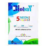BIOBAY 100 Assorted Color Copy Paper | Convenient multipack InkJet, Laser & Copier Sized – 5 Neon Colors, 100 Sheets – A4 Size