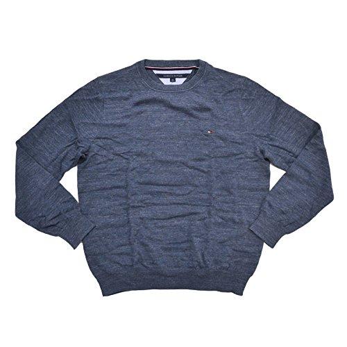 Tommy Hilfiger Mens Crewneck (Tommy Hilfiger Mens Crew Neck Pullover Sweater (Large, Mood Indigo))