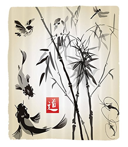 Chaoran 1 Fleece Blanket on Amazon Super Silky Soft All Season Super Plush Traditional Japanese Decor Collection Bamboo in The Bird Fish H-drawn with Ink Image Fabric et Gray Ivory by chaoran
