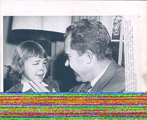 1957 WirePhoto Julie Nixon Richard Vice President WA Scratched Nose Child 8X10 -