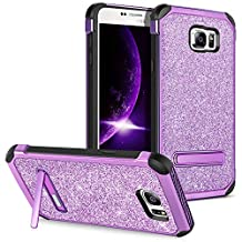 Note 5 Case,Samsung Galaxy Note 5 Case Kickstand GUAGUA Luxury Shiny Slim Fit Hybrid Hard PC Cover Bling Faux Leather Shockproof Full Body Protective Phone Case for Samsung Galaxy Note 5,Purple