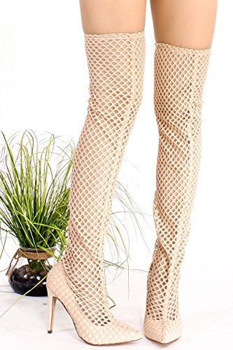 Lollicouture Zapatos Faux Suede Pointed Toe Cutout Muslos High Heel Bota Beige-net-1