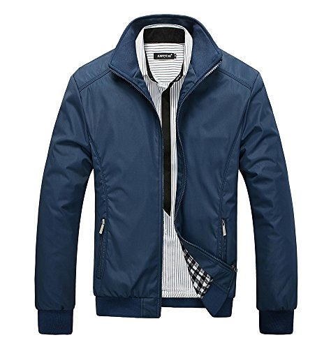 Minetom Men's Spring Autumn Warm Zipped Hooded Jacket Tops Casual Long Sleeve Thicken Lined Trench Coat Parka Outerwear B- Blue