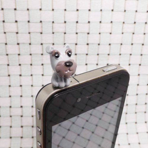 Caps Schnauzer (Adorable Grey Schnauzer White Bull Terrier Orange Basset Hound Dog Puppy Dust Plug 3.5mm Phone Accessory Cell Phone Plug iPhone Dust Plug Samsung Plug Phone Charm Headphone Jack Earphone Cap Ear Cap Dust Plug (Grey Schnauzer))