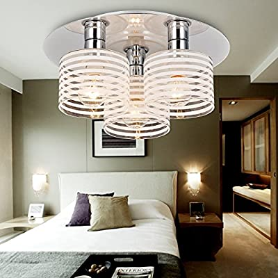 OOFAY LIGHT® Simple and elegant modern 3-head chandelier, Fashionable bedroom ceiling light, Modern glass ceiling light for living hall