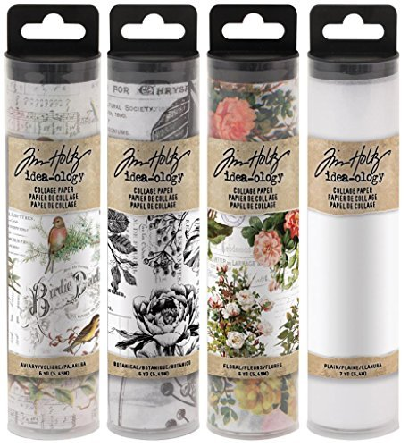 Tim Holtz Idea-Ology Collage Paper - Aviary, Botanical, Floral and Plain - 4 Rolls