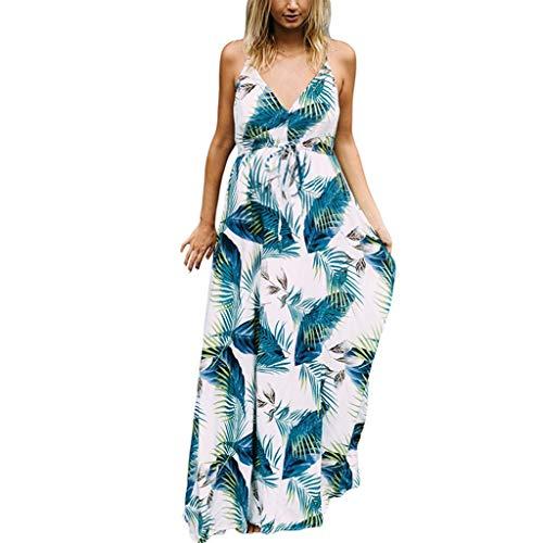 Women's Maternity Maxi Dress Sleeveless Suspender Leaf Print Pregnancy Sundress,SIN vimklo White
